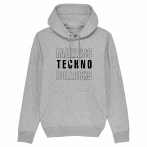 Faceless Techno Bollocks Grey Hoodie