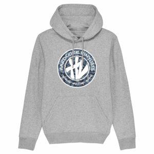 Hardcore Vinylists – Camo Big Front Logo – Grey Hoodie
