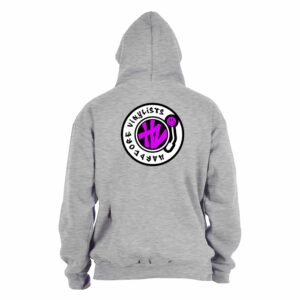 Hardcore Vinylists – Pink Small Front / Big Back Grey Hoodie