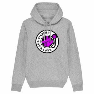 Hardcore Vinylists – Pink Big Front Logo – Grey Hoodie