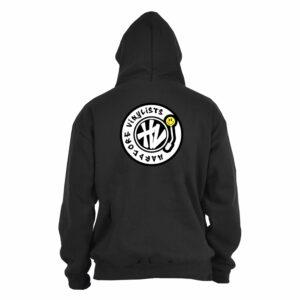 Hardcore Vinylists – Yellow Small Front / Big Back Black Hoodie