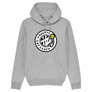Hardcore Vinylists – Yellow Big Front Logo – Grey Hoodie